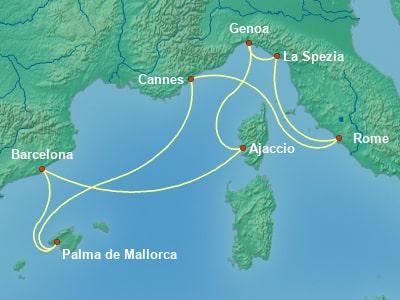 הפלגה מרומא בים התיכון   שייט בים התיכון מרומא   קרוז מרומא