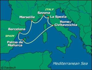 הפלגה מרומא לים התיכון   costa